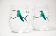 Hummingbird Gift Set : Stemless Wine Glasses and Greeting Card