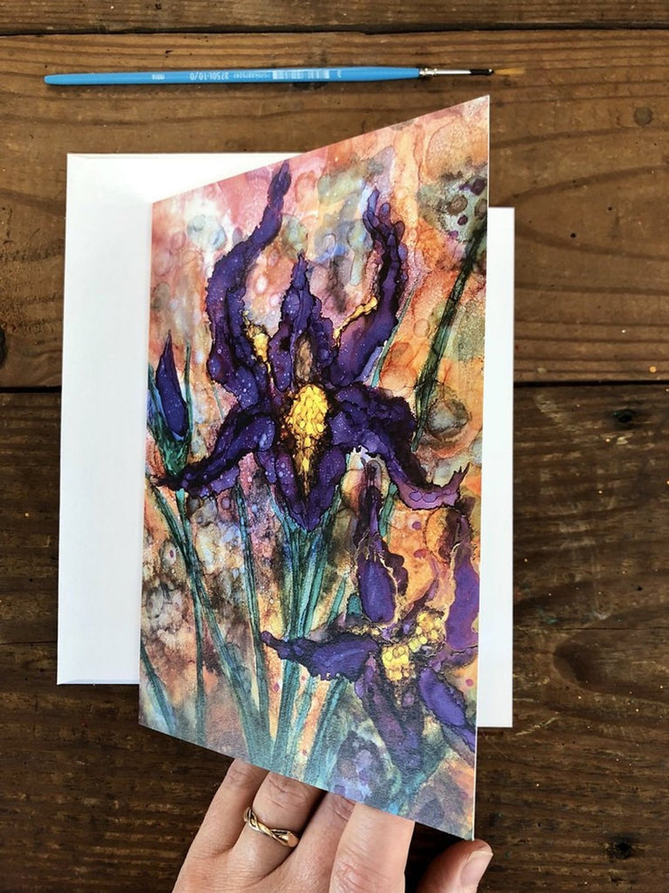 Purple Iris Gift Set : Card and Glasses