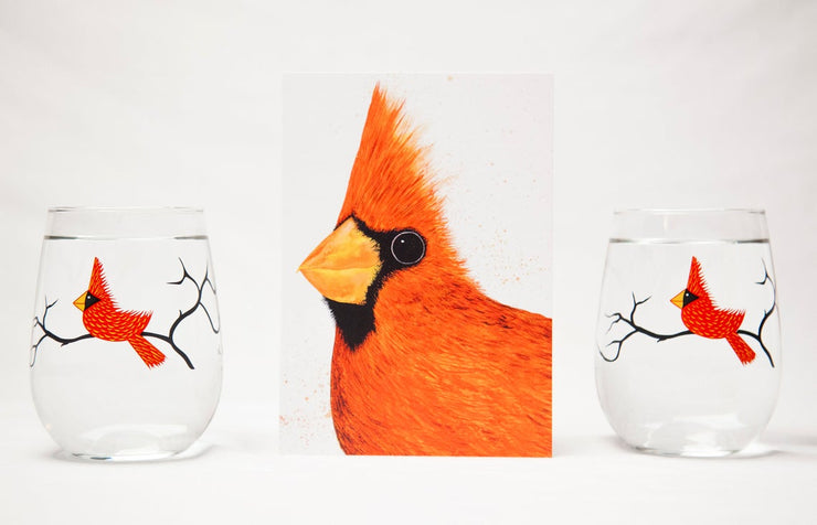 Big Red Cardinal 3 Piece Stemless Glassware Gift Set