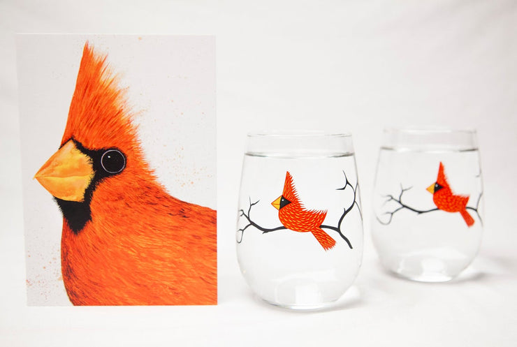 Big Red Cardinal 3 Piece Glassware Gift Set Collection