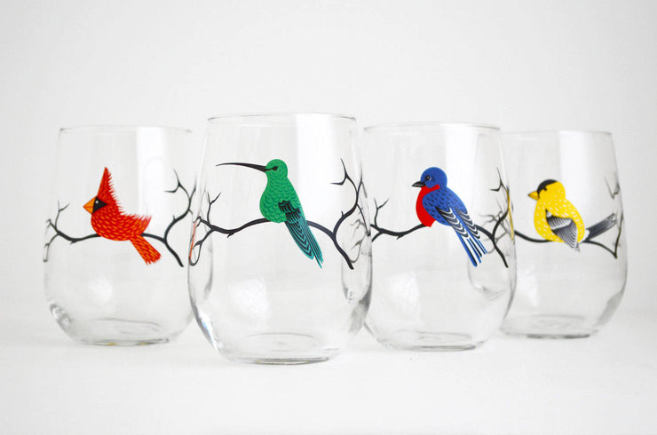 Colorful Birds Glasses: Set of 4