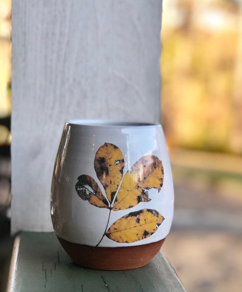 Fall Leaves Handmade Pottery Cup, ceramic stemless wine tumbler