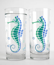 Seahorse Gift Set : Highball Glasses and Greeting Card