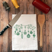 Vintage Christmas Ornaments Tea Towel in Green