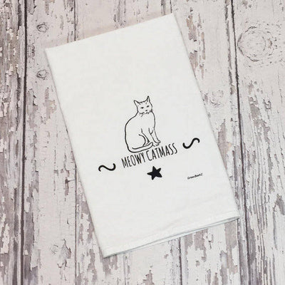 Meowy Catmass Flour Sack Tea Towel in Black