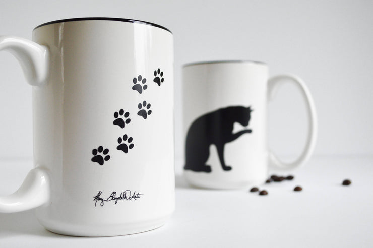 Cat and Paw Mug for Cat Lovers