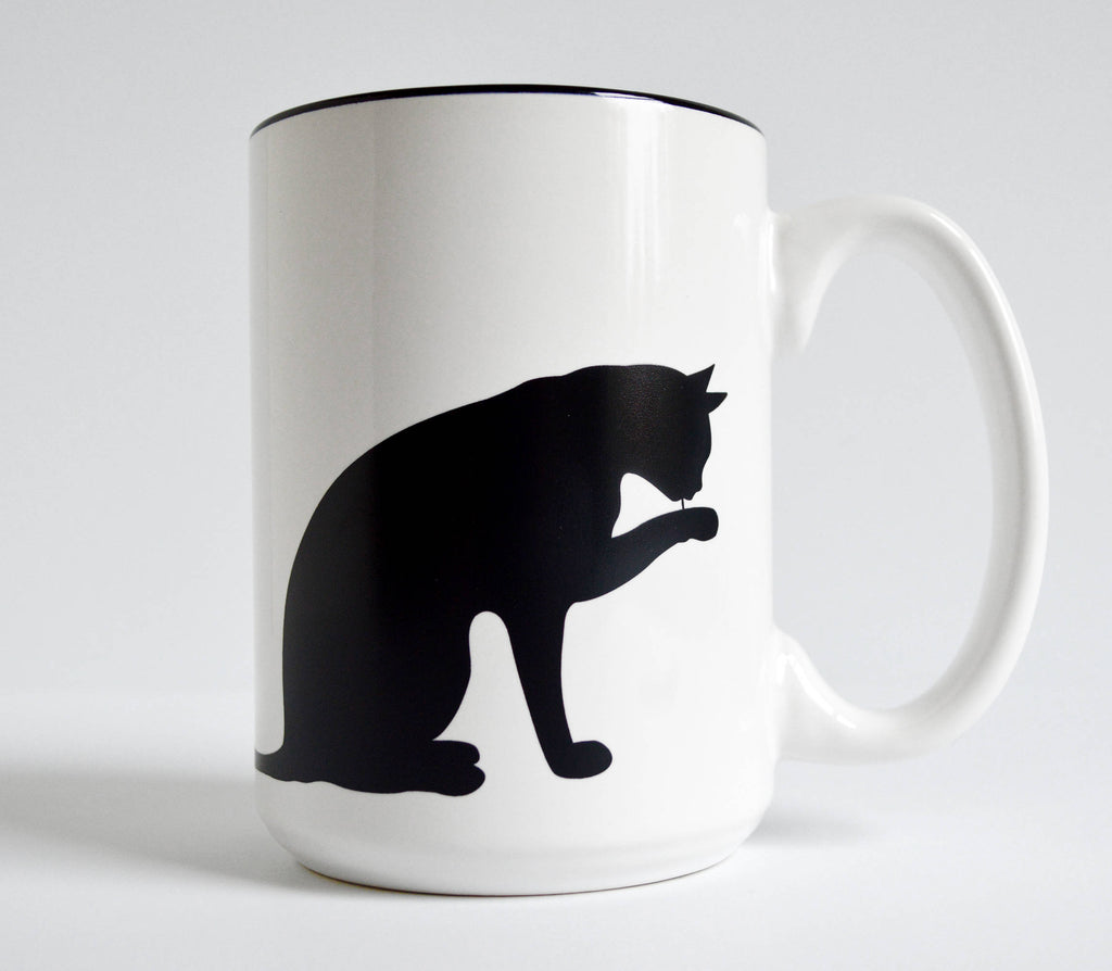 15 oz Cat and Paw Mug for Cat Lovers