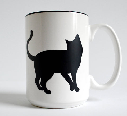 15 oz Black Cat and Paw Mug for Cat Lovers