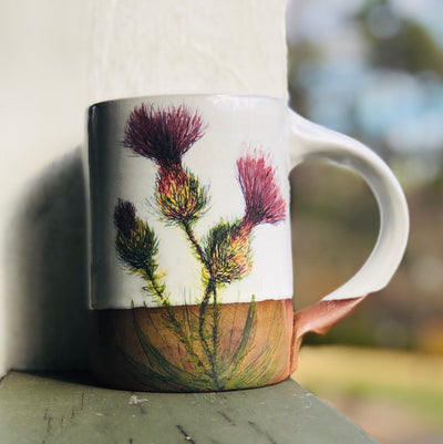 Large Thistle & Honeybee Handmade Pottery Coffee Mug
