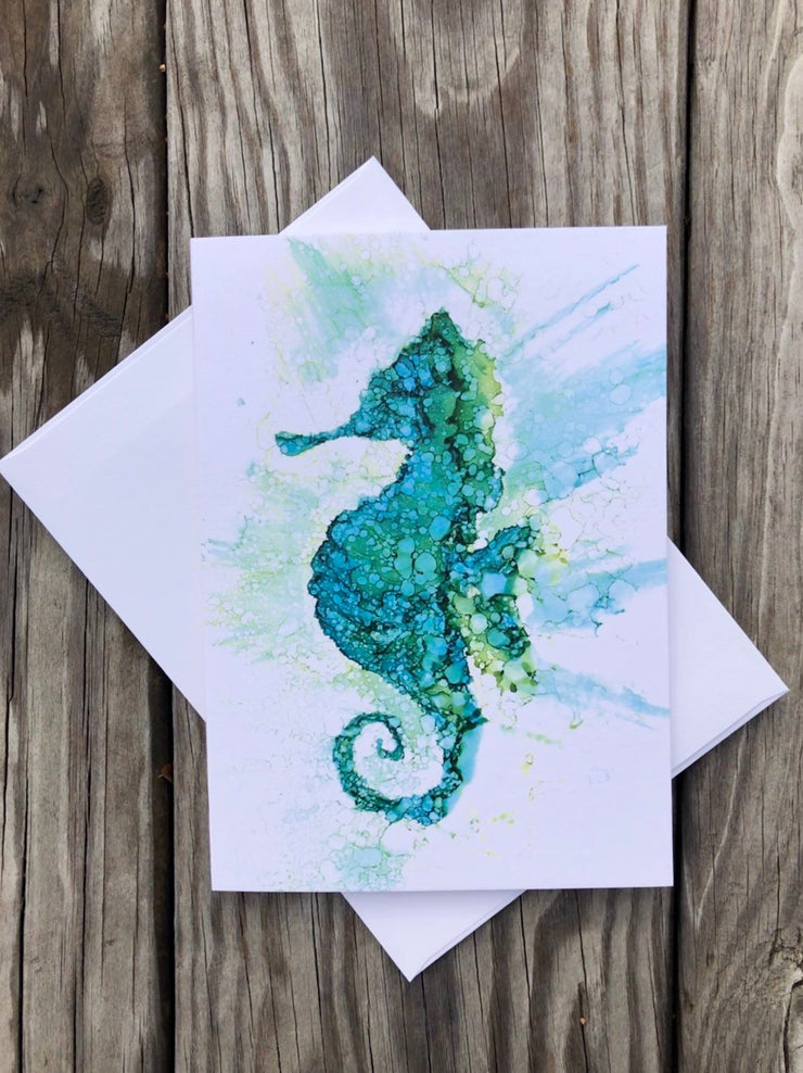 Seahorse Gift Set : Card and Glasses