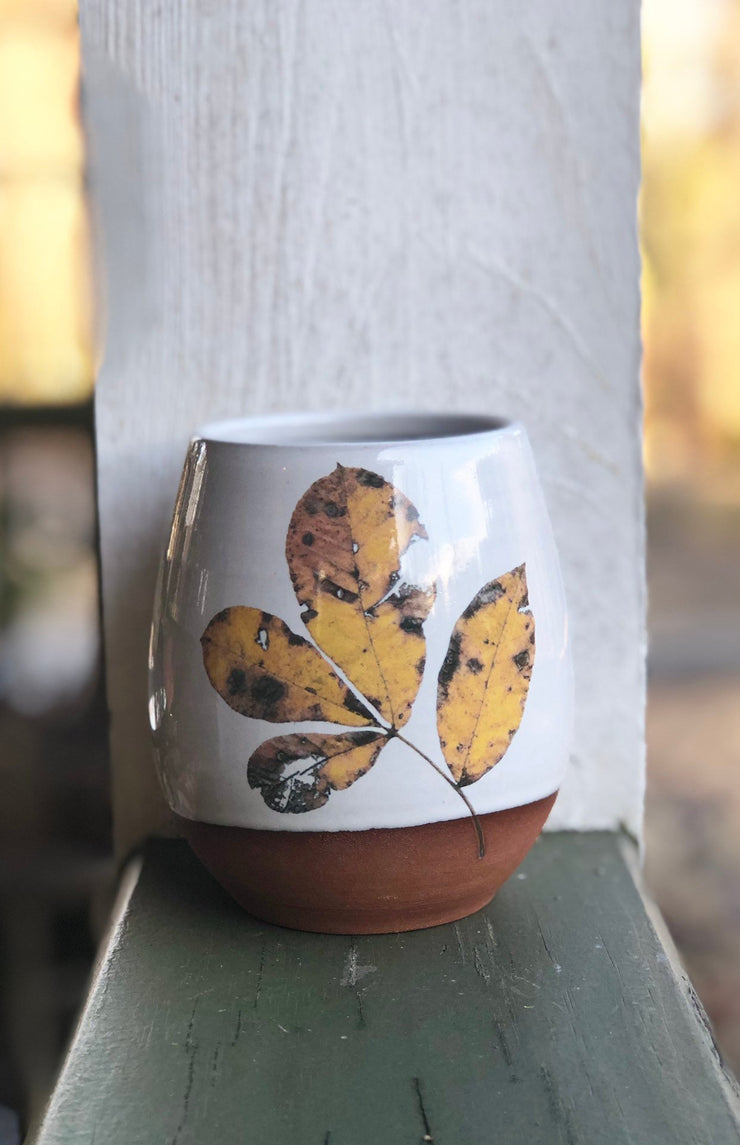 Fall Leaves Handmade Pottery tumbler, ceramic stemless wine cup