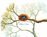 "Bird Nest 11"" x 14"" Personalized Print"