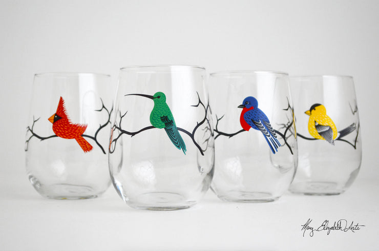 See the whole Bird Collection here: http://www.maryelizabetharts.com/collections/stemless-wine-glasses/products/four-birds-stemless-wine-glasses