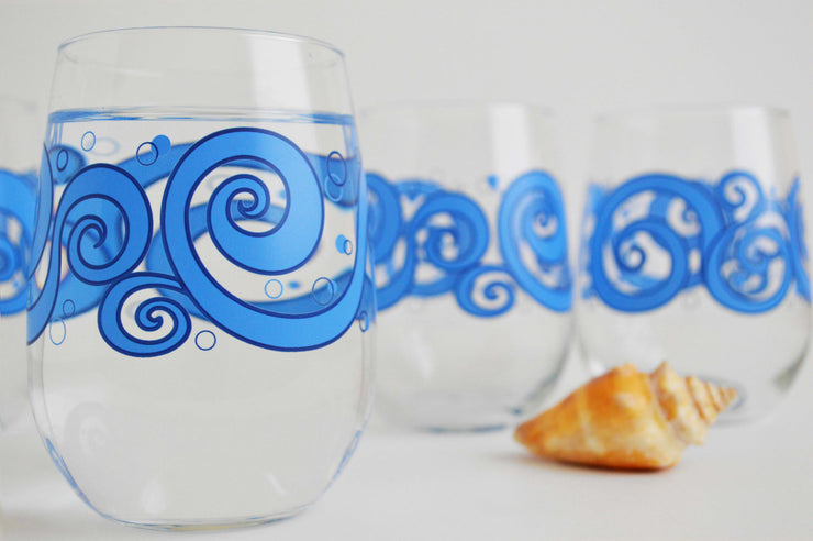 Ocean Waves Stemless Wine Glasses