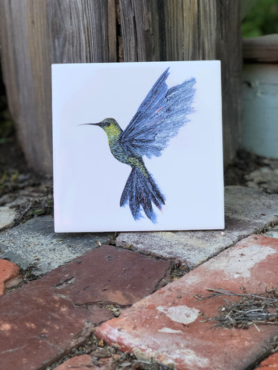 Hummingbird in Flight Ceramic Tiles : Indoor and Outdoor Use