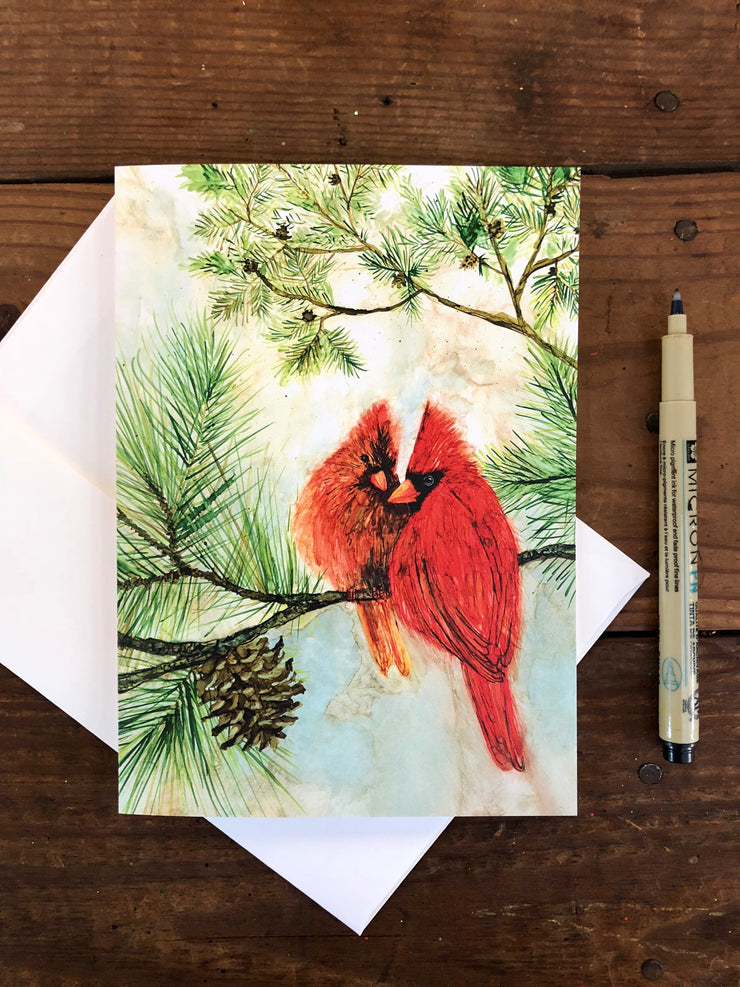 Cardinal Lovebirds : Greeting Card