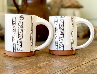Personalized Birch Tree Handmade Pottery Mugs, Coffee Mug