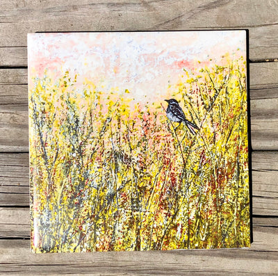 Sparrow in the Meadow Ceramic Tile - Indoor and Outdoor Use