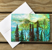 Green Sky Landscape : Greeting Card