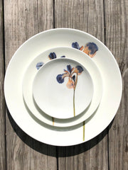 Pressed Blue Iris Porcelain Plates