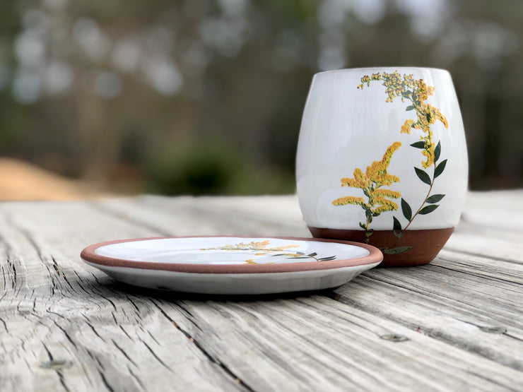 Goldenrod Handmade Pottery Wine Cup and Plate Set