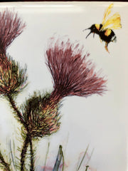 Thistle and Honeybee Ceramic Tiles : Indoor and Outdoor Use