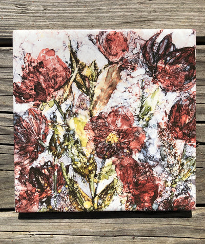 Lenten Roses Ceramic Tile - Indoor and Outdoor Use
