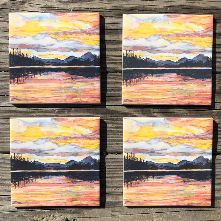 Lake Sunset : Ceramic Tiles - Indoor and Outdoor Use