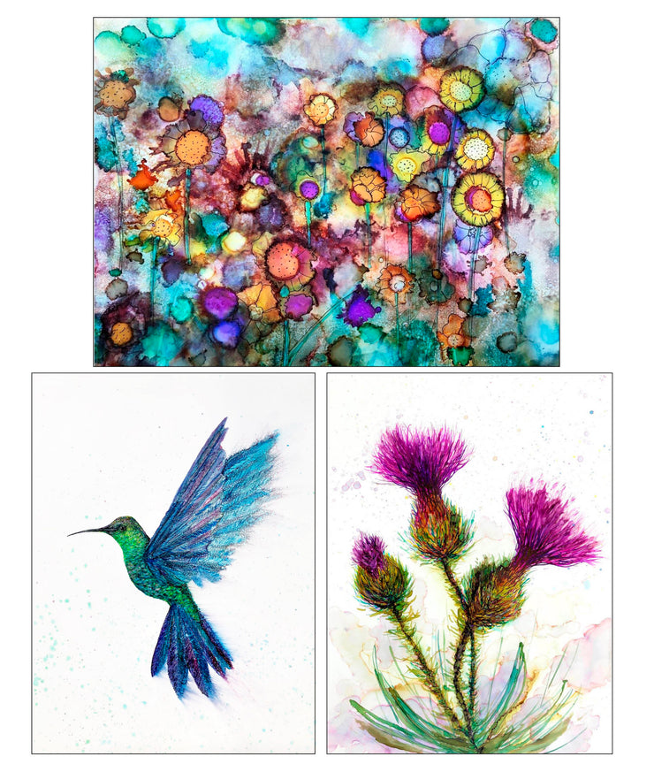 Boxed Set Collection of 3 Art Prints: 5 x 7 inch Prints including Hummingbird, Thistle and Field of Flowers Artist Paintings