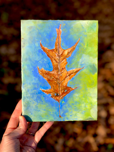 "Oak Tree Leaf Original Encaustic Painting 6"" x 8"""