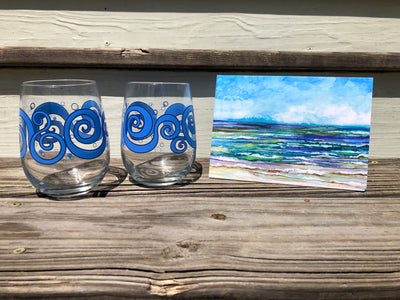 Beach Theme 3 piece Gift Set : Card and Wine Glasses