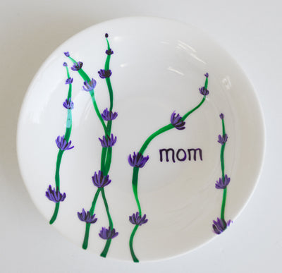 Personalized Lavender Stem Jewelry Dish for Mom