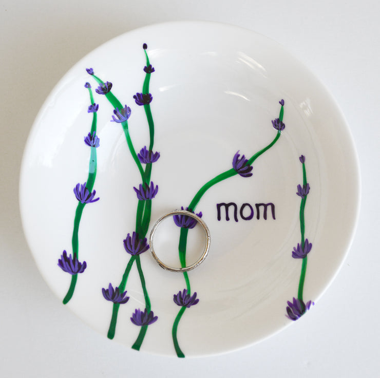 Personalized Lavender Stem Jewelry Dish