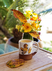 Fall Leaves Handmade Pottery Mug, Fall Leaf Coffee Mug, Yellow Hickory Leaves