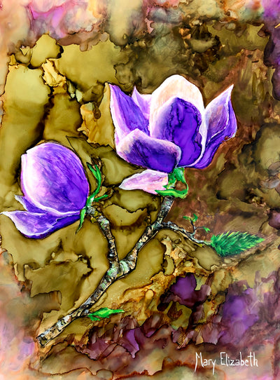 Purple Magnolia : Original Painting