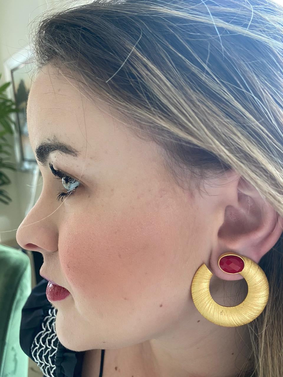 Round Red Earring