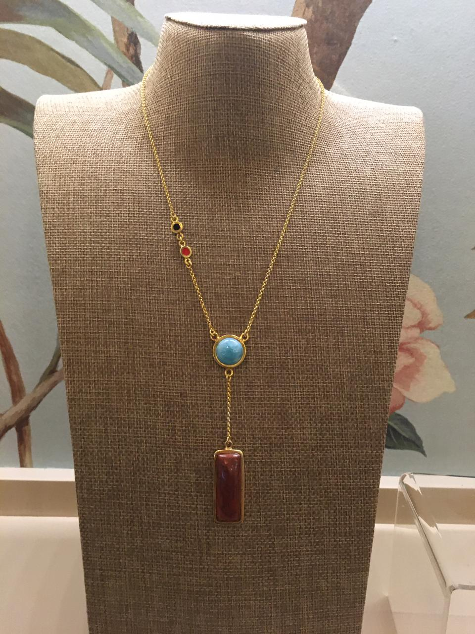 Larimar and red Necklace