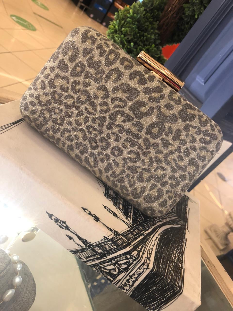 Clutch Gold Animal Print