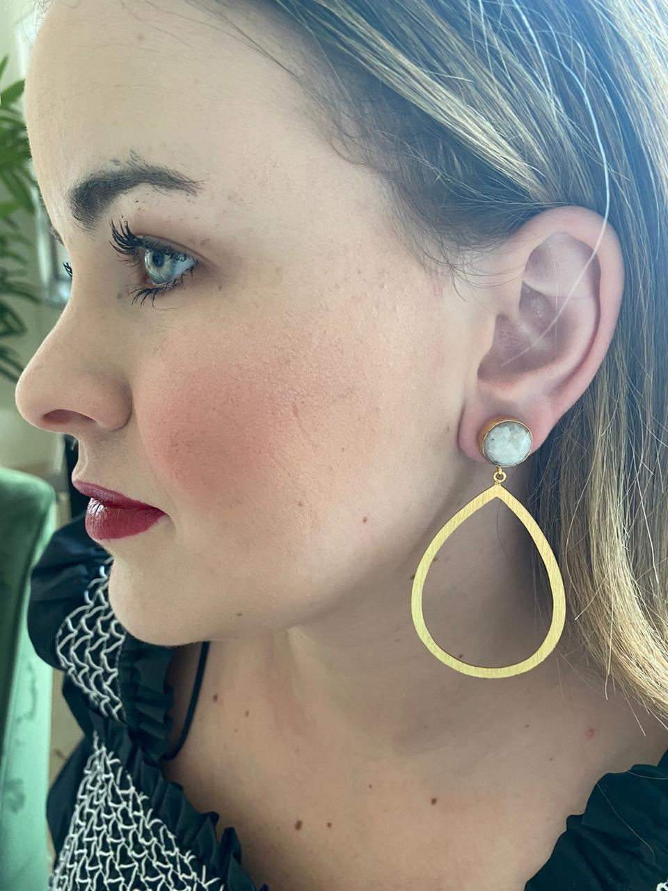 Moonstone Gold Earring