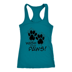 Wash Your Paws! Racerback Tank (Black Letters - 12 colors)