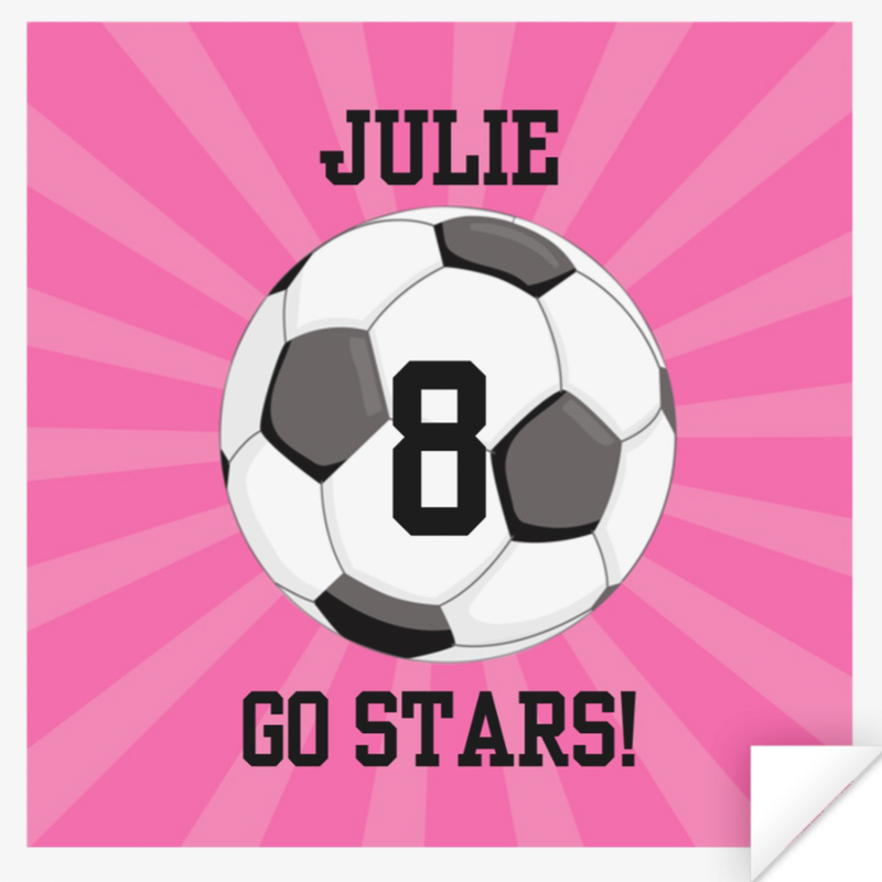 Personalized Soccer Ball Sticker in PINK