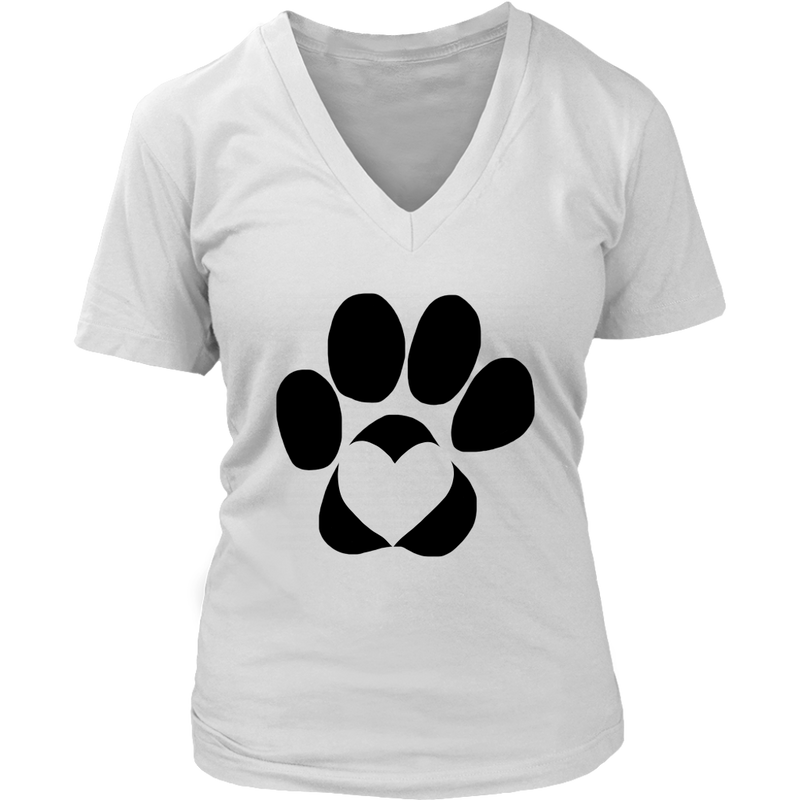 Dog Paw with Heart V-Neck Tee