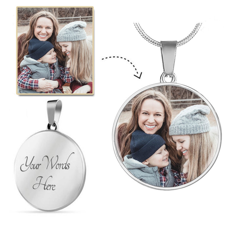 Circle Pendant Necklace With Personal Photo