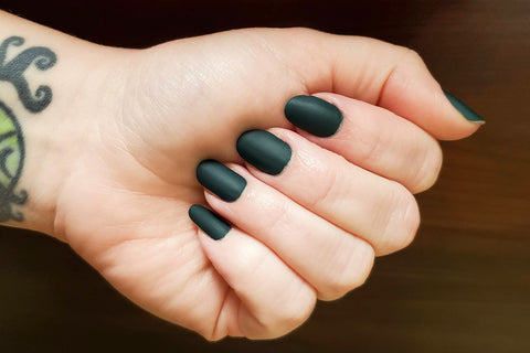 Deep Forest Green nail wrap with matte top coat from Ivy & Ash