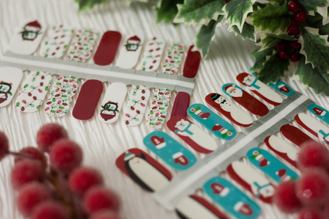 Festive Penguins and Holiday Friends nail wrap sets