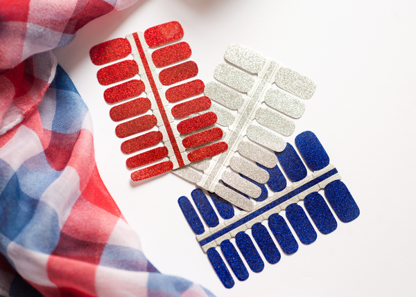 Red, White, and Blue Glitter Nail Wraps