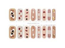 Load image into Gallery viewer, Mid century mod boho abstract shapes on neutral background nail wrap set from Ivy & Ash - at home DIY manicure set - easy and affordable nail strips