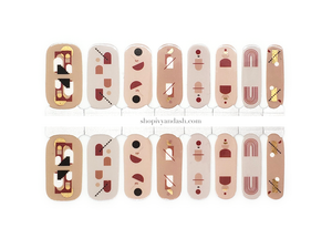Mid century mod boho abstract shapes on neutral background nail wrap set from Ivy & Ash - at home DIY manicure set - easy and affordable nail strips