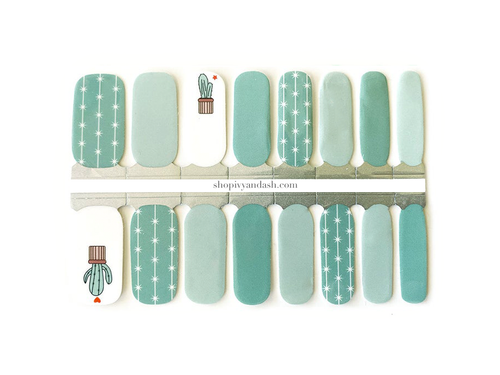 Mint green, light teal, and cactus design nail wrap set from Ivy & Ash - at home DIY manicure set - easy and affordable nail strips