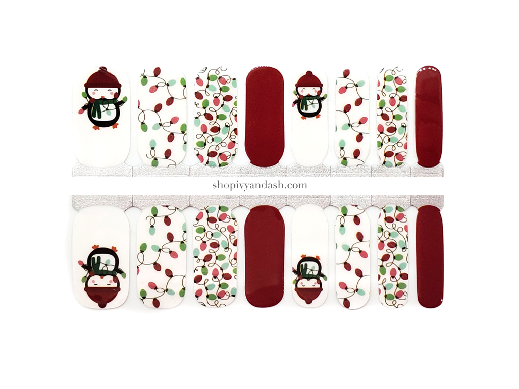 Festive Penguins Nail Wrap Set